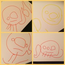 His face drawings evolved into having legs, arms, ears.